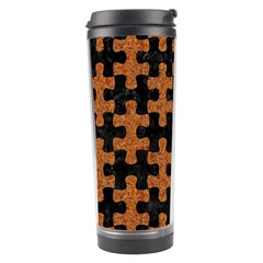 Puzzle1 Black Marble & Rusted Metal Travel Tumbler