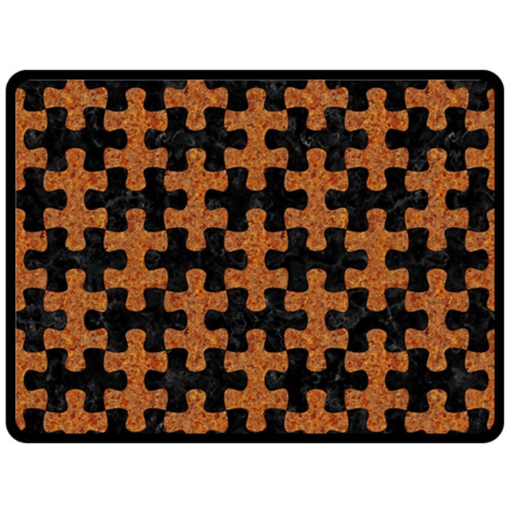 PUZZLE1 BLACK MARBLE & RUSTED METAL Double Sided Fleece Blanket (Large)