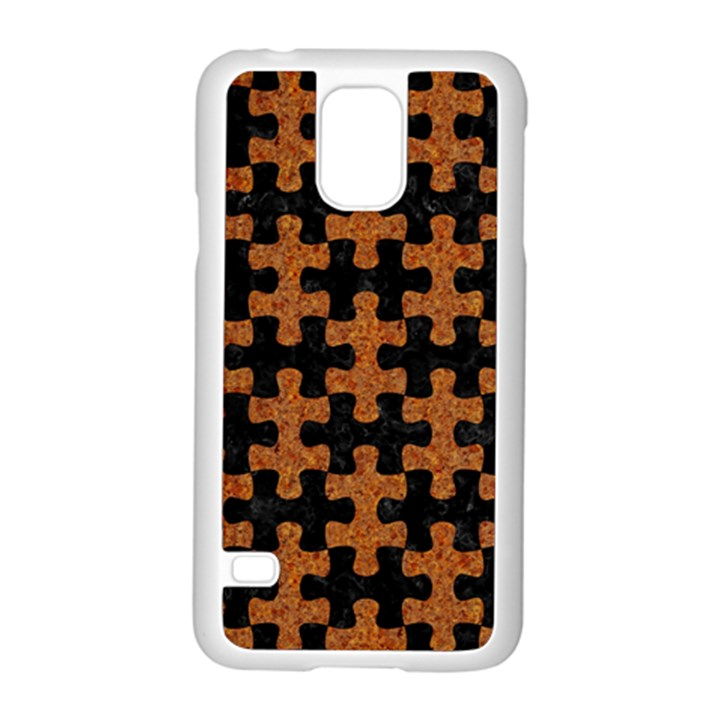 PUZZLE1 BLACK MARBLE & RUSTED METAL Samsung Galaxy S5 Case (White)