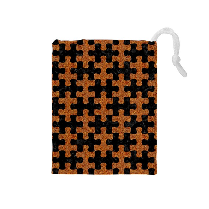 PUZZLE1 BLACK MARBLE & RUSTED METAL Drawstring Pouches (Medium)