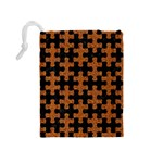 PUZZLE1 BLACK MARBLE & RUSTED METAL Drawstring Pouches (Medium)  Back