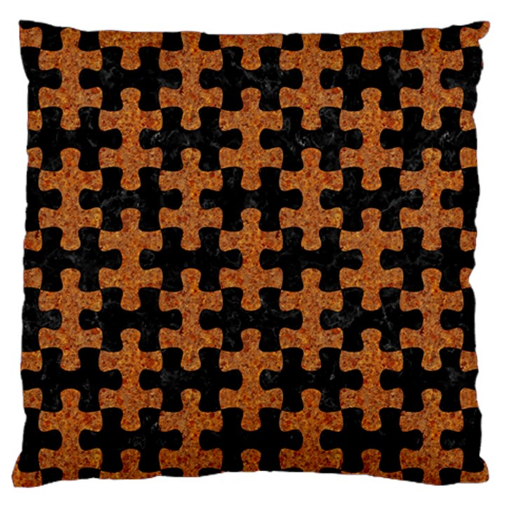PUZZLE1 BLACK MARBLE & RUSTED METAL Standard Flano Cushion Case (Two Sides)