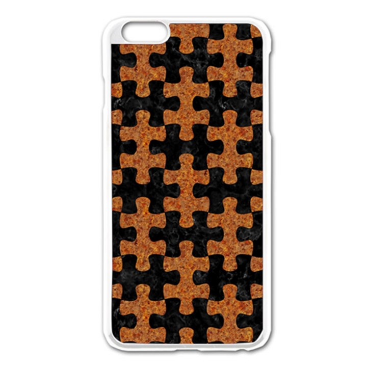 PUZZLE1 BLACK MARBLE & RUSTED METAL Apple iPhone 6 Plus/6S Plus Enamel White Case