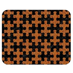 Puzzle1 Black Marble & Rusted Metal Double Sided Flano Blanket (medium)  by trendistuff