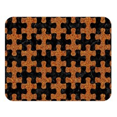 Puzzle1 Black Marble & Rusted Metal Double Sided Flano Blanket (large)
