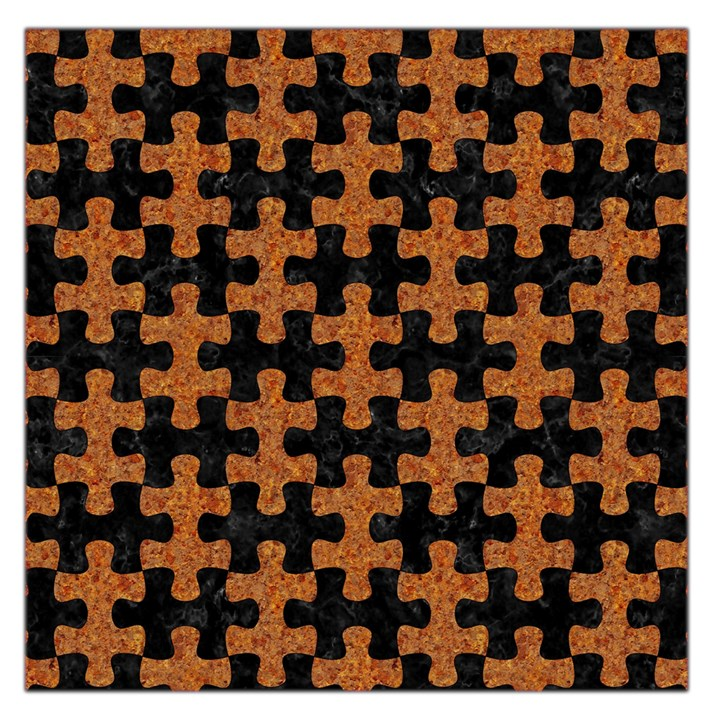 PUZZLE1 BLACK MARBLE & RUSTED METAL Large Satin Scarf (Square)