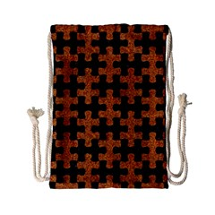 Puzzle1 Black Marble & Rusted Metal Drawstring Bag (small) by trendistuff