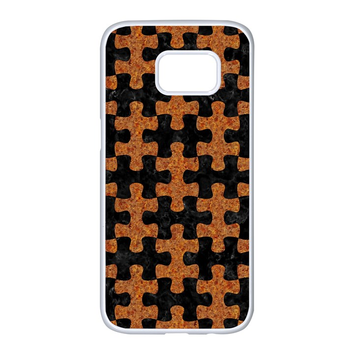 PUZZLE1 BLACK MARBLE & RUSTED METAL Samsung Galaxy S7 edge White Seamless Case