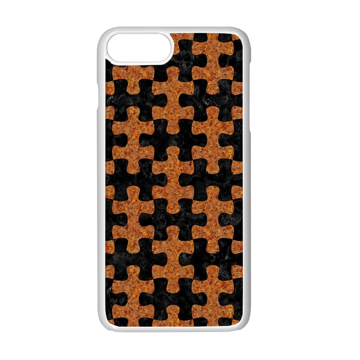 PUZZLE1 BLACK MARBLE & RUSTED METAL Apple iPhone 7 Plus White Seamless Case