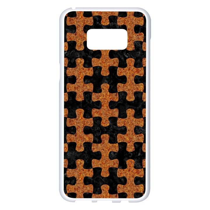 PUZZLE1 BLACK MARBLE & RUSTED METAL Samsung Galaxy S8 Plus White Seamless Case