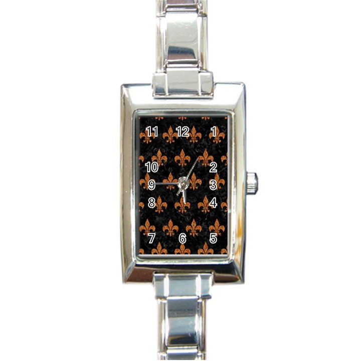 ROYAL1 BLACK MARBLE & RUSTED METAL Rectangle Italian Charm Watch
