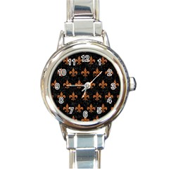 ROYAL1 BLACK MARBLE & RUSTED METAL Round Italian Charm Watch