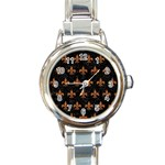 ROYAL1 BLACK MARBLE & RUSTED METAL Round Italian Charm Watch Front