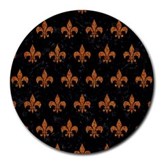 ROYAL1 BLACK MARBLE & RUSTED METAL Round Mousepads