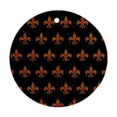 ROYAL1 BLACK MARBLE & RUSTED METAL Ornament (Round)