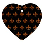 ROYAL1 BLACK MARBLE & RUSTED METAL Ornament (Heart)