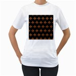 ROYAL1 BLACK MARBLE & RUSTED METAL Women s T-Shirt (White) (Two Sided)