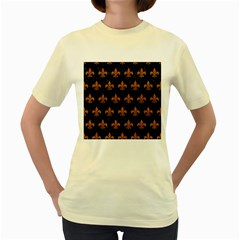 ROYAL1 BLACK MARBLE & RUSTED METAL Women s Yellow T-Shirt