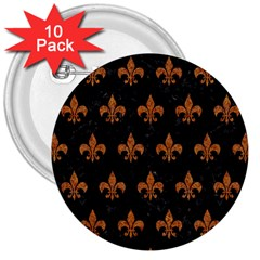 ROYAL1 BLACK MARBLE & RUSTED METAL 3  Buttons (10 pack)