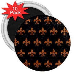 Royal1 Black Marble & Rusted Metal 3  Magnets (10 Pack)