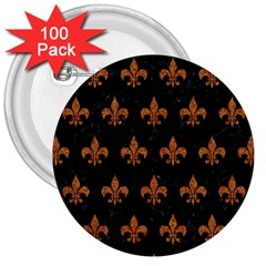 Royal1 Black Marble & Rusted Metal 3  Buttons (100 Pack)  by trendistuff