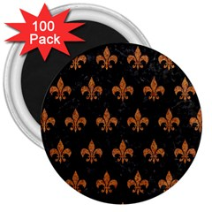 ROYAL1 BLACK MARBLE & RUSTED METAL 3  Magnets (100 pack)