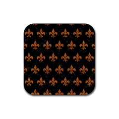 ROYAL1 BLACK MARBLE & RUSTED METAL Rubber Coaster (Square)