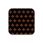 ROYAL1 BLACK MARBLE & RUSTED METAL Rubber Square Coaster (4 pack)  Front