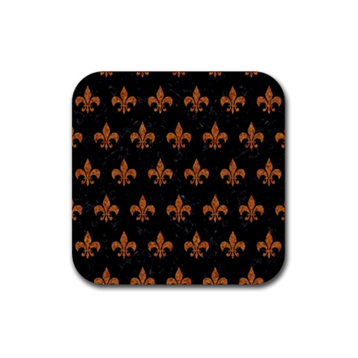 ROYAL1 BLACK MARBLE & RUSTED METAL Rubber Square Coaster (4 pack)