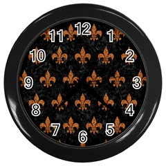 ROYAL1 BLACK MARBLE & RUSTED METAL Wall Clocks (Black)