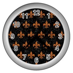 ROYAL1 BLACK MARBLE & RUSTED METAL Wall Clocks (Silver)