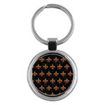 ROYAL1 BLACK MARBLE & RUSTED METAL Key Chains (Round)
