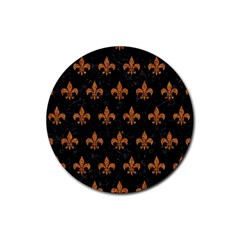 Royal1 Black Marble & Rusted Metal Rubber Coaster (round)  by trendistuff
