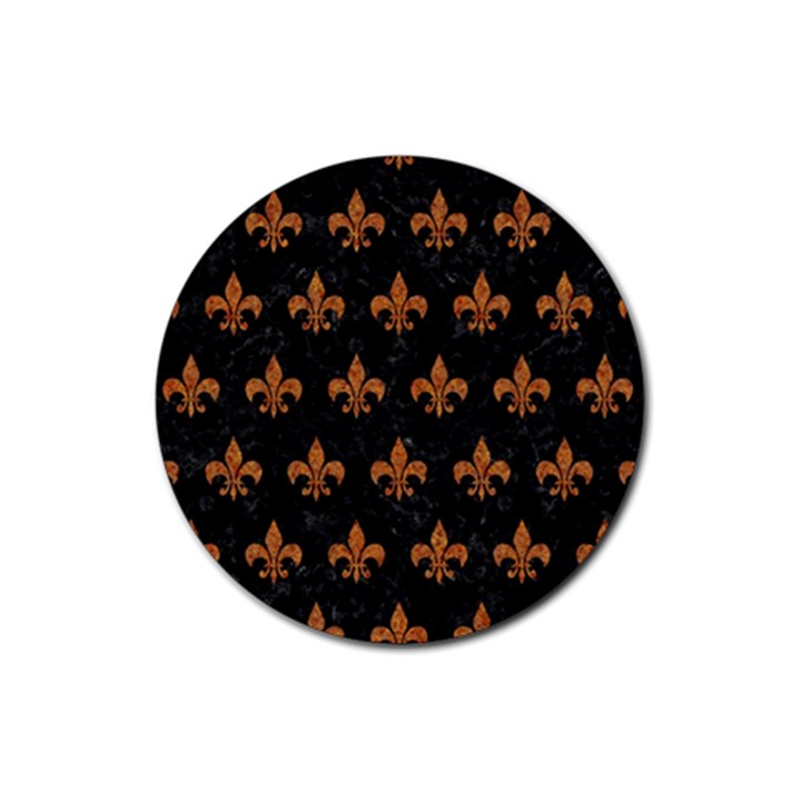 ROYAL1 BLACK MARBLE & RUSTED METAL Rubber Round Coaster (4 pack)