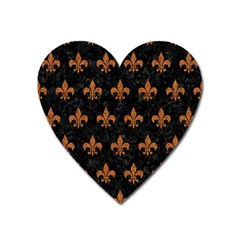 ROYAL1 BLACK MARBLE & RUSTED METAL Heart Magnet