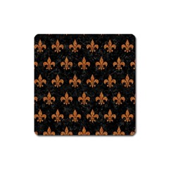 Royal1 Black Marble & Rusted Metal Square Magnet by trendistuff
