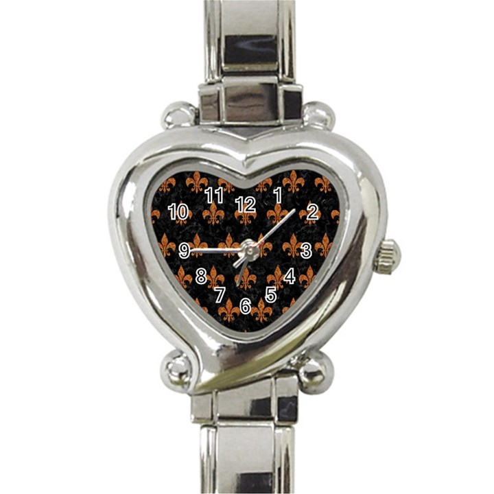 ROYAL1 BLACK MARBLE & RUSTED METAL Heart Italian Charm Watch