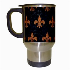 ROYAL1 BLACK MARBLE & RUSTED METAL Travel Mugs (White)