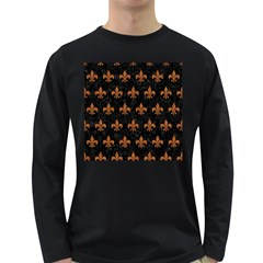 ROYAL1 BLACK MARBLE & RUSTED METAL Long Sleeve Dark T-Shirts