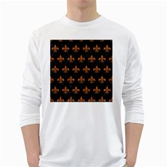 ROYAL1 BLACK MARBLE & RUSTED METAL White Long Sleeve T-Shirts