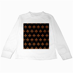 ROYAL1 BLACK MARBLE & RUSTED METAL Kids Long Sleeve T-Shirts