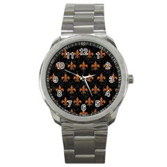 ROYAL1 BLACK MARBLE & RUSTED METAL Sport Metal Watch