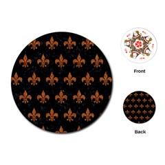ROYAL1 BLACK MARBLE & RUSTED METAL Playing Cards (Round)