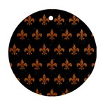 ROYAL1 BLACK MARBLE & RUSTED METAL Round Ornament (Two Sides)