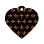 ROYAL1 BLACK MARBLE & RUSTED METAL Dog Tag Heart (Two Sides)