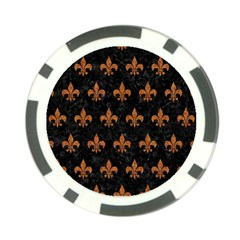 ROYAL1 BLACK MARBLE & RUSTED METAL Poker Chip Card Guard