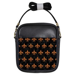ROYAL1 BLACK MARBLE & RUSTED METAL Girls Sling Bags
