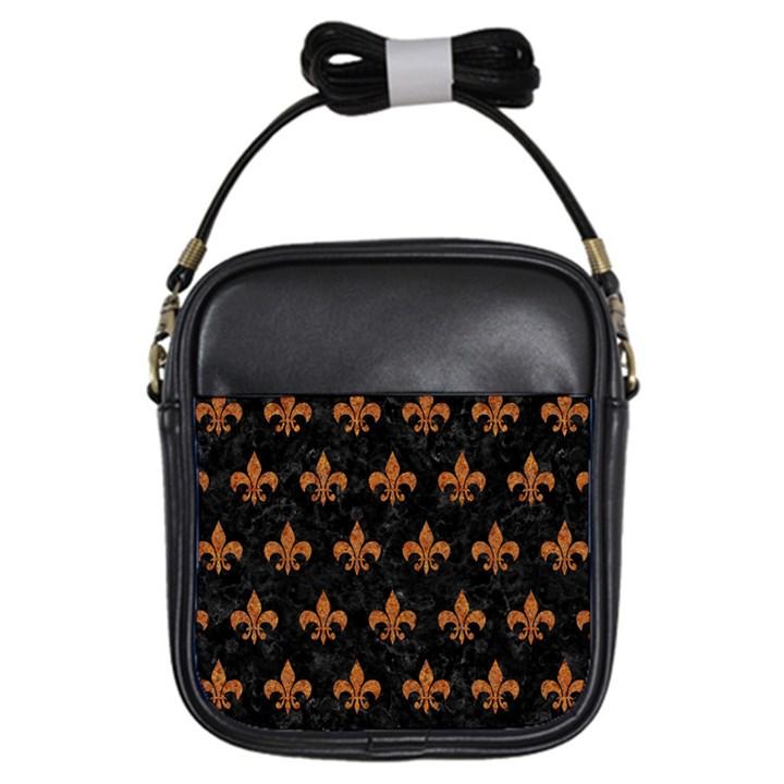 ROYAL1 BLACK MARBLE & RUSTED METAL Girls Sling Bags