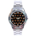 ROYAL1 BLACK MARBLE & RUSTED METAL Stainless Steel Analogue Watch Front