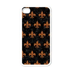ROYAL1 BLACK MARBLE & RUSTED METAL Apple iPhone 4 Case (White)